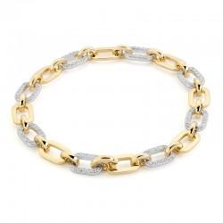 14KY&W Diamond Chain Link Bracelet