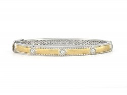 JudeFrances sterling silver, gold and diamond stackable bangle bracelet.