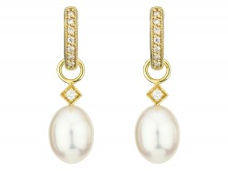 JudeFrances 18KY White Pearl Briolette Earring Charms