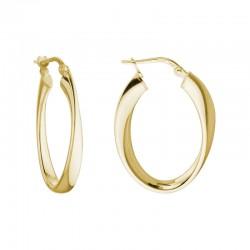 SS/YGP Oval Twisted Hoop Earrings