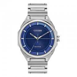 Men's ST Citizen Drive Watch w/Blue Silver Accented Stick Dial, WR100M/10Bar