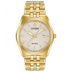 The byword is versality for this handsome 3-hand Citizen Corso watch crafted in gold-tone stainless steel.