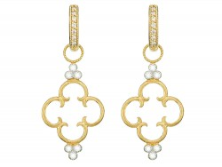 JudeFrances 18KY Simple Clover Diamond Trio Earring Charms