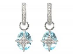 JudeFrances 18KW Lisse Oval Stone Lacey Kite Earring Charms