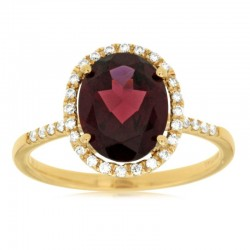 14KY Garnet & Diamond Ring
