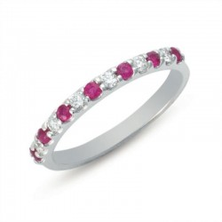 Ladie's 14K White Gold Gold Ruby & Diamond Ring