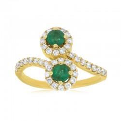 14KY Emerald & Diamond Ring