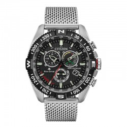 Citizen Eco WR200 Stainless Black with Stainless Mesh Bracelet