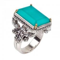 Women's Sterling Silver & 18KY Lagoon M Ring