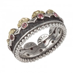 Sterling Silver and 18kt Yellow Gold ring with pink tourmaline stones SIZE 7