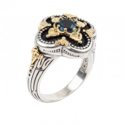 Women's Sterling Silver and 18kt Yellow Gold ring with london blue topaz