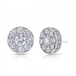 18KW 1.48ctw Diamond Illusion Earrings
