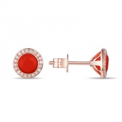 Luvente Coral and Diamond Earrings