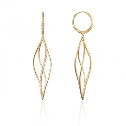 Luvente Diamond Twisted Hoop Dangle Earrings