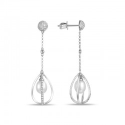 Luvente Pearl and Diamond Cage Drop Earrings