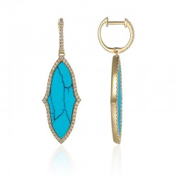 Luvente Diamond and Turquoise Drop Earrings