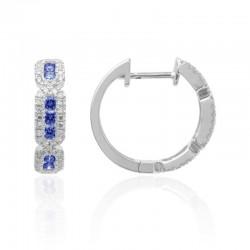 Luvente Sapphire and Diamond Small Hoop Earrings