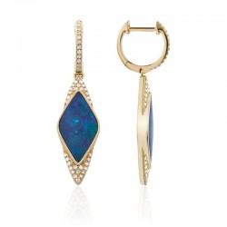 Luvente Opal and Diamond Drop Earrings