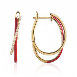 Luvente Red Enamel and Diamond Small Hoop Earrings