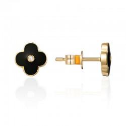 Luvente Black Enamel Flower Earrings