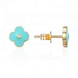 Luvente Turquoise Enamel Flower Earrings