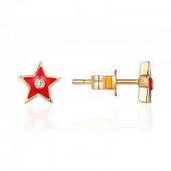 Luvente Red Enamel Star Earrings
