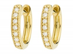JudeFrances 18KY Diamond Huggie Hoop Earrings
