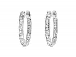 JudeFrances 18KW Delicate Small Oval Hoop Earrings