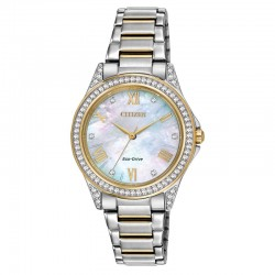 Share your fashionable point of view starting with this hip watch with 64 Swarovski®crystals on the two-tone stainless steel case.