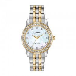 Ladies Citizen Eco WR50 Stainless MoP Dial with Swarovski Crystal Dial and Bezel
