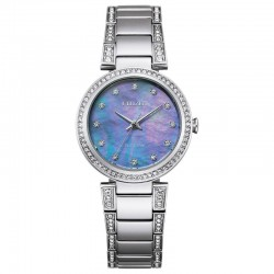 Lady's ST Citizen Silhouette Crystal Watch w/Blue MOP Crystal Dial, Crystal Bezel, 50M/5Bar
