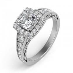 14K White Gold Halo Engagement Ring Semi Mounting