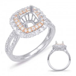 14k White & Rose Gold Halo Engagement Ring Semi Mounting