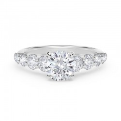 Forevermark Icon™ Setting Round Engagement Ring with Graduated Diamond Band