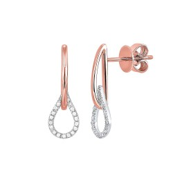 Lady's 14K Two Tone Diamond Earrings