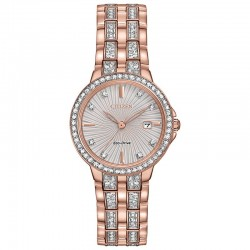 Classic lines and fashionable edge with lots of sparkle are hallmarks of this Citizen Silhouette Crystal pink gold-tone stainless steel bracelet.