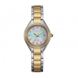 Lady's ST Two-Tone Eco-Drive Watch w/Crystal MOP Dial, Crystal Bezel, WR50M/10Bar