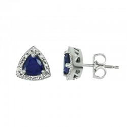14KW Sapphire & Diamond Earrings