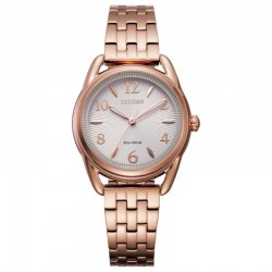 Lady's Citizen Pink Gold ST Eco-Drive Watch w/Silver Tone Dial