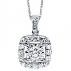 1.00ctw diamond pendant, round center,halo and diamonds on bail 14kw