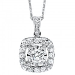 Lady's 14K White Gold Gold Pendant with One 0.17ct Round Diamond
