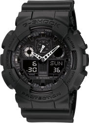 G-Shock Watch Big Case Resin Black-Black Reverse LCD Dial