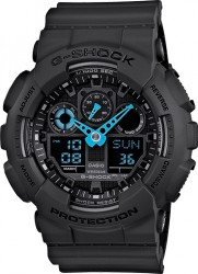 G-Shock XL Watch Gray Dial w/ Bold Blue Hands