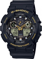 G-Shock Watch Resin Strap, Gold/Black Dial