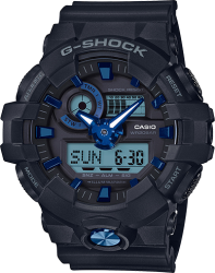 G-Shock Watch, Black Resin Strap, Metallic Black/Blue Dial