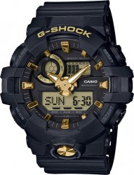 G-Shock Watch Resin Strap, Black/Gold Dial