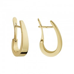 14K Yellow Gold J Hoop Tapered Earrings