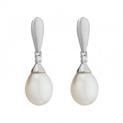 14K White Gold  Drop Earring With 8Mm Freshwater Pearl