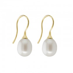 14K Yellow Gold 9mm Pearl Drop Earrings