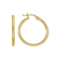 14K Yellow Gold  Hoop, 2 X 23Mm Tube